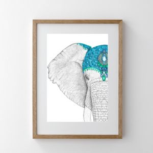 Ethan the Elephant with Jewel Crown | Art Print