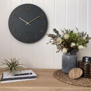 Evie 35cm | Charcoal | Silent Wall Clock | by One Six Eight London