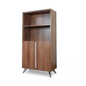 Excel 2 Door Office Cabinet with Bookshelf | Walnut