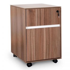 Excel 2 Drawer Mobile Pedestal | Walnut | Interior Secrets