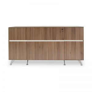 Excel 2 Drawer Wooden Filing Cabinet with Cupboard | Walnut