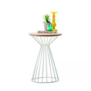 Fabiano Round Side Table   Light Oak & White