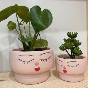 Face Squat Planter Pink
