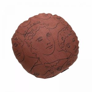 Faces Round Cushion | Rust