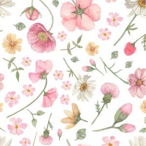 Falling Flowers White Wallpaper
