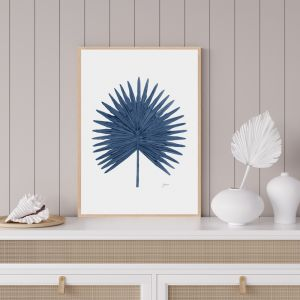 Fan Palm Living Fine Art Print in Navy Blue   by Pick a Pear   Framed