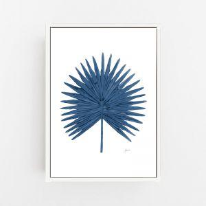 Fan Palm Living Wall Art in Navy Blue   by Pick a Pear   Canvas