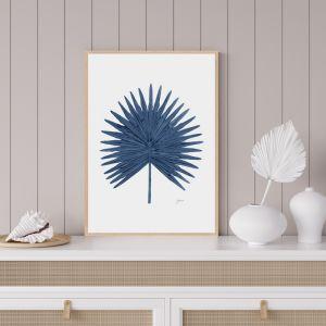Fan Palm Living Wall Art in Navy Blue by Pick a Pear | Framed Wall Art