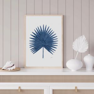 Fan Palm Living Wall Art in Navy Blue by Pick a Pear | Unframed Print