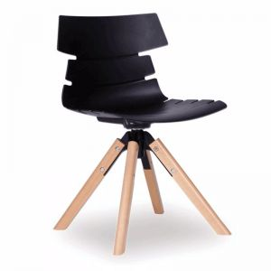 Feather Swivel Chair   Natural Solid Beech Frame   Black Shell Seat
