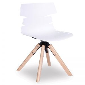 Feather Swivel Chair   Natural Solid Beech Frame   White Shell Seat
