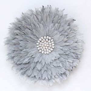 Feather Wall Hanging II | Soft Grey | by Raw Decor