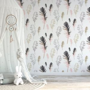 Feathered Friends - Nature's Child | Eco Wallpaper | Pink | Amba Florette