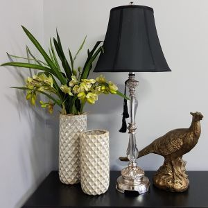 Felicienne Champagne Table Lamp with Black Shade