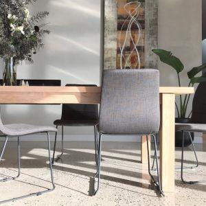 Felix Dining Chair in Mid Grey | Black Sleigh Legs by SATARA