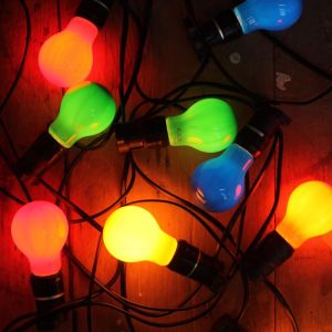 Festoon Lighting | Outdoor String Lights | 10 Metres with 10 LED Coloured Bulbs