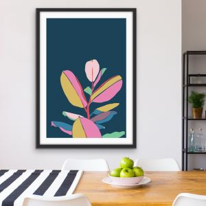 Fiddle Leaf Fig | Turquoise Graphic Art Print