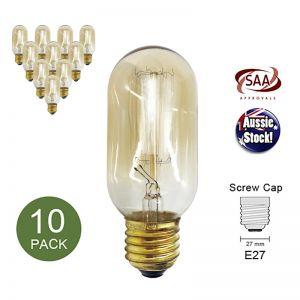 Filament Edison Bulb Globe E27 40W Shape C -10 Pack