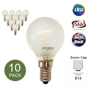 Filament Edison LED Bulb Globe E14 3W G45 2F Frosted - 10 Pack