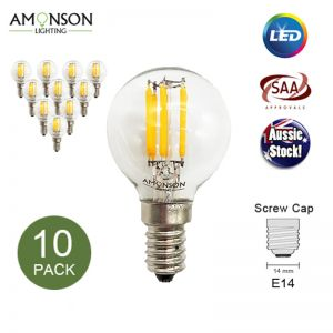 Filament Edison LED Bulb Globe E14 3W G45 6LF - 10 Pack