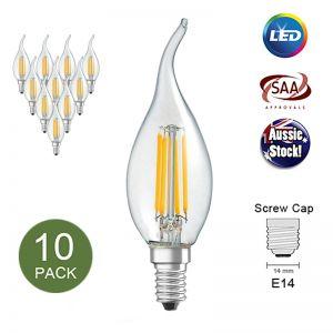 Filament Edison LED Bulb Globe | E14 4W | C35 Flame | Warm White | 10 Pack
