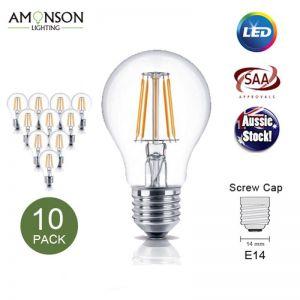 Filament LED Edison Bulb Globe E27 6W A60 - 10 Pack