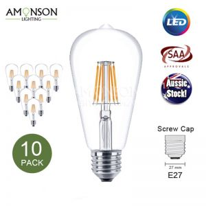 Filament LED Edison Bulb Globe E27 6W ST64 Shape A-6F - 10 Pack