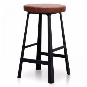 Fina Wooden Bar Stool in Rustic Brown | Black Legs | 65cm