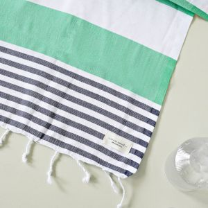 Flamenco Turkish Towel | Apple Green & Navy