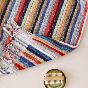 Flamingo Bath Towel | Multicoloured Stripes