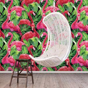 Flamingos in Tropical Leaves Design | Wallpaper