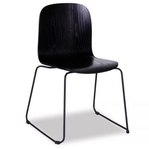Flip Chair | Black Stained American Ash Seat with Black Powdercoated Steel Sled Base