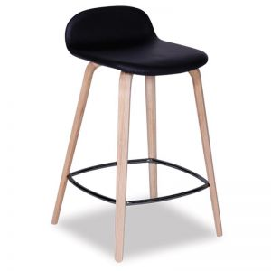 Flip Kitchen Counter Stool | Natural American Ash | Upholstered Black Seat Pad