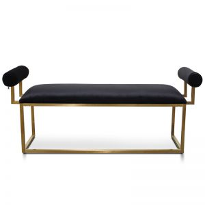 Florence Bench In Black Velvet | Brushed Gold Base