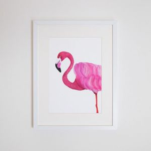Florence the Flamingo Giclee Print | by For Me By Dee
