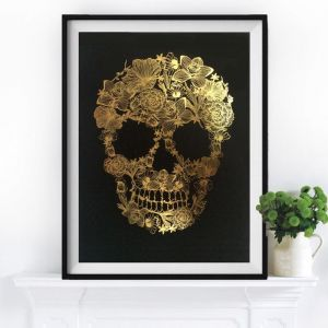Flower Skull   Gold Leaf Art