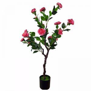 Flowering Natural Pink Artificial Camellia Tree | 100cm