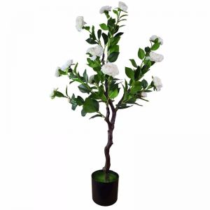 Flowering Natural White Artificial Camellia Tree | 100cm