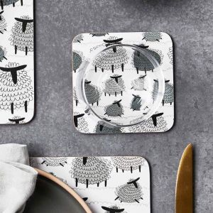 Fluffy Sheep Cork Backed Coasters