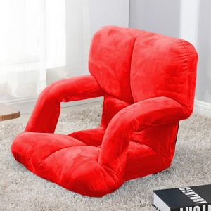 Foldable Lounge Cushion with Armrest | Red