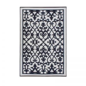 Folded Recycled Plastic Outdoor Rug Waterproof reversible Venice Black and Cream