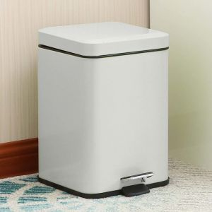 Foot Pedal Stainless Steel Rubbish Bin | 6L | White