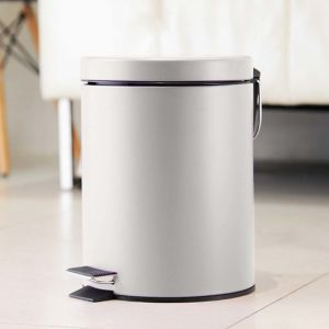 Foot Pedal Stainless Steel Rubbish Recycling Garbage Waste Trash Bin Round 7L White