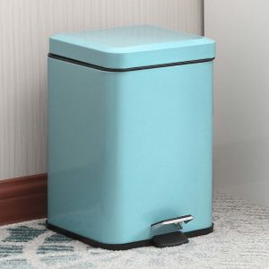 Foot Pedal Stainless Steel Rubbish Recycling Garbage Waste Trash Bin Square 12L Blue