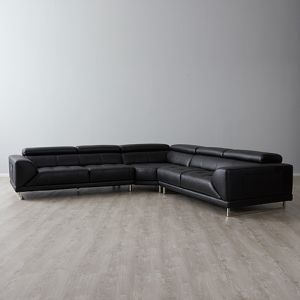 Fortitude Corner Chaise Lounge   Leather   Black