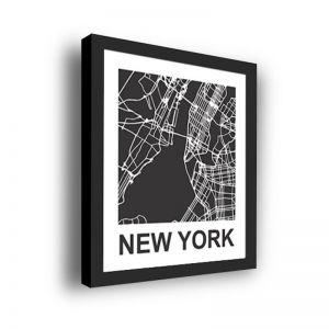 Framed 3D Street Map | New York City Map Print
