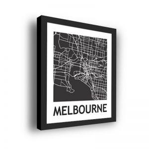 Framed 3D Street Map Print | Melbourne City Map