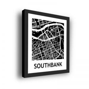 Framed 3D Street Map | Southbank Suburb Map Print