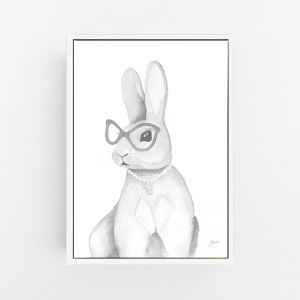 Frankie the Fancy Bunny Rabbit Wall Art Print | by Pick a Pear | Canvas