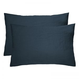 French Flax Linen Pillowcase Pair | Charcoal